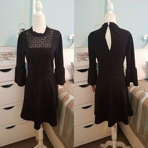 New Black lace 3/4 sleeve ruffle dress